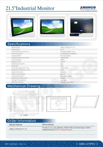 """AMONGO 21.5"""" 1920x1080 Pixel PCT 4 Points Touch 250nits(Touch Monitor)AMG-21IPKJ01T1-V1"""