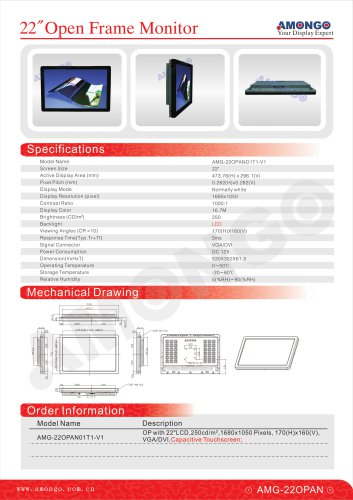 """AMONGO 22"""" Capacitive Touchscreen 1680x1050 Pixels (Open Frame Touch Monitor)AMG-22OPAN01T1-V1"""