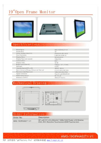 Amongo 22''Open Frame lcd monitor with Touch screen panel