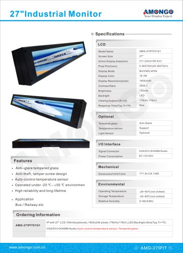 """AMONGO 27"""" bar LCD industrial display with anti-glare tempered glass, auto-control temperature senso"""