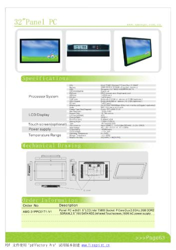 Amongo 32''Fanless Panel PC with IR Touch screen Panel