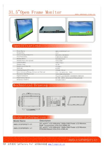 Amongo 32''Open Frame Industrial LCD Monitor with SAW touch Screen panel/AMG-31OPSP02T1-V1