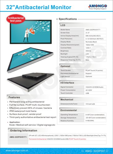 Amongo 32inch Antibacterial Touch Screen Monitor(AMG-32OPGV01T1)