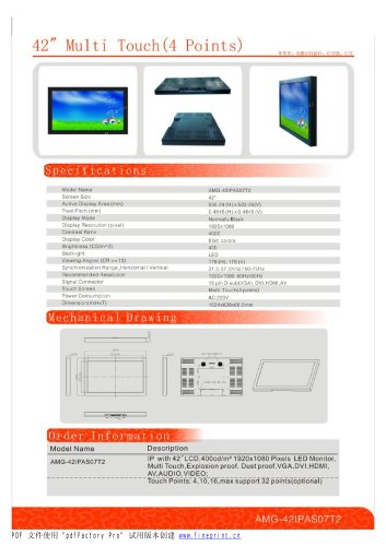 Amongo 42'' Industrial LCD Touch Screen Monitor with IR 4 POINTS Multi touch Screen/AMG-42IPAS07T2