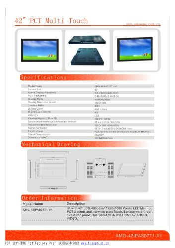Amongo 42'' Industrial LCD Touch Screen Monitor with PCT 2 POINTS Multi touch Screen/AMG-42IPAS07T1-V1