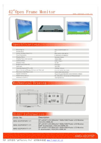 Amongo 42'' Open Frame Industrial LCD Touch Screen Monitor with IR/SAW  touch Screen/AMG-42OPSP