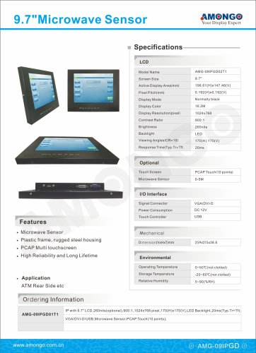 Amongo 9.7inch industrial lcd monitor with PCAP Multi touch screen , for ATM rear side