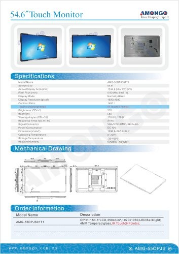 Amongo open frame touch industrial lcd monitor, 55 inch IR touch 6 points (AMG-55OPJS01T1)
