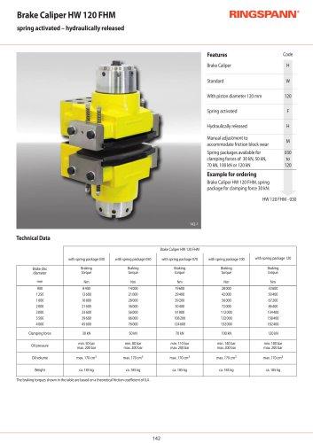 Brake Caliper HW 120 FHM - hydraulically released RINGSPANN