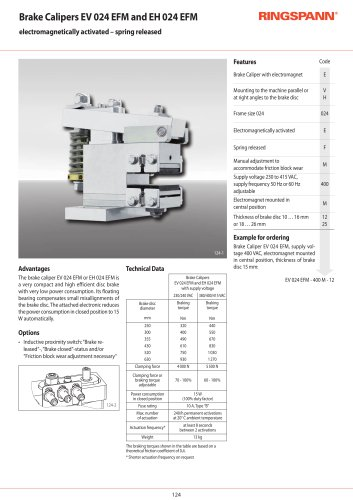 Electrical Brake Calipers EV - EH 024EFM RINGSPANN