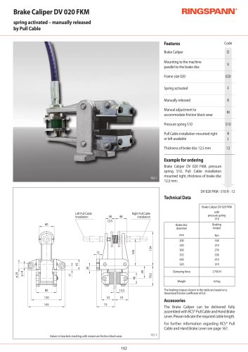 Manual Brake Calipers DV 020FKM RINGSPANN