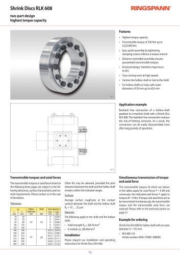 Shrink Discs RLK 608 RINGSPANN