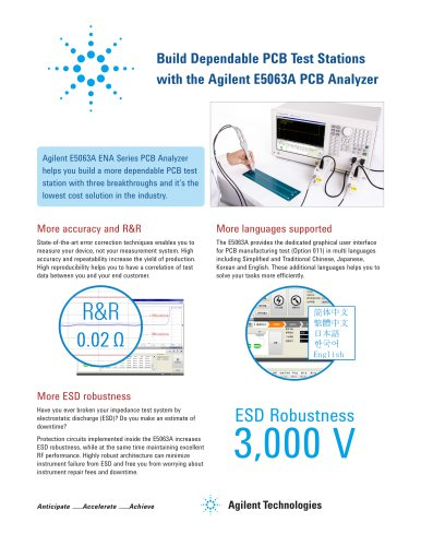 Build Dependable PCB Test Stations with the Agilent E5063A PCB Analyzer