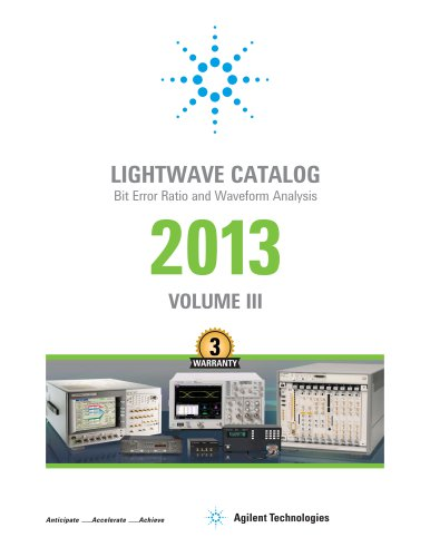 Lightwave Catalog: Bit Error Ratio and Waveform Analysis 2013 Volume 3