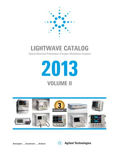 Lightwave Catalog: Optical-Electrical/Polarization/Complex Modulation Analysis 2013 Vol 2