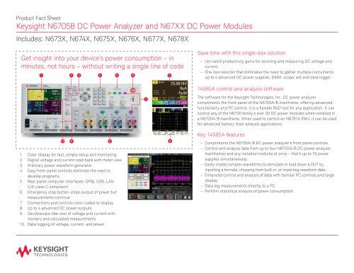 N6705B DC Power Analyzer and N67XX DC Power Modules