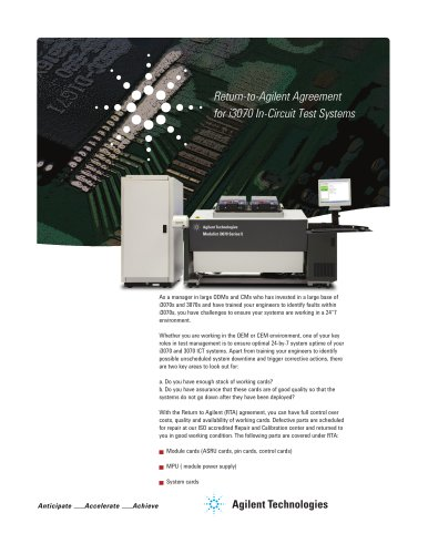 Return-to-Agilent Agreement for i3070 In-Circuit Test Systems