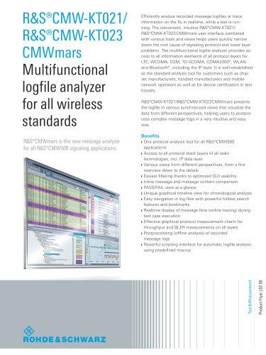 R&S®CMW-KT021/ R&S®CMW-KT023 CMWmars Multifunctional logfile analyzer for all wireless standards