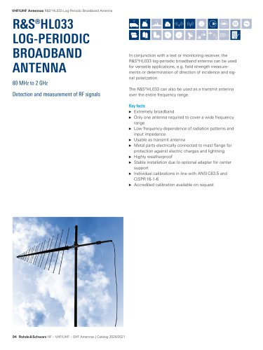R&S®HL033 Log-Periodic Broadband Antenna - brief description English