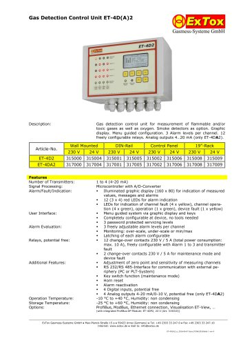 Gas Detection Control Unit ET-4D(A)2