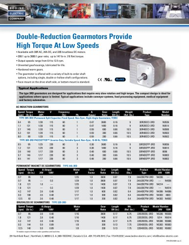 Double-Reduction Gearmotors Provide High Torque At Low Speeds