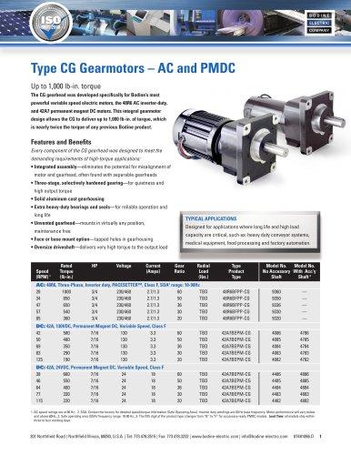 High-Torque Type CG, AC and PMDC Gearmotors