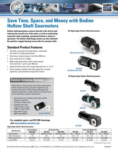Save Time, Space, and Money with Bodine Hollow Shaft Gearmotors