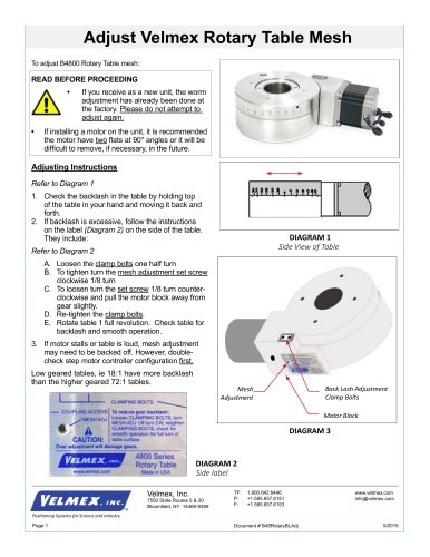 Adjust Velmex Rotary Table Mesh