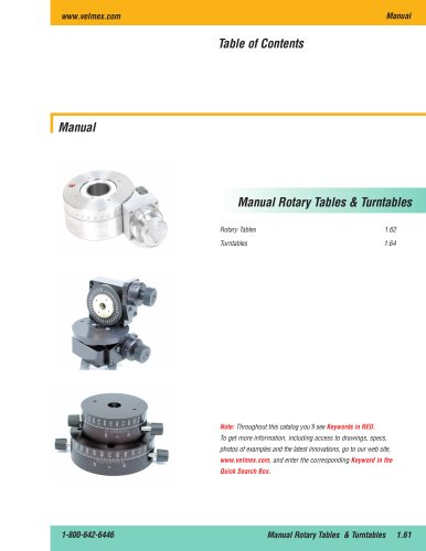 Hand or manually operated worm and gear rotary tables