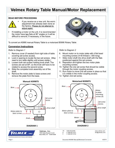 Velmex Rotary Table Manual/Motor Replacement