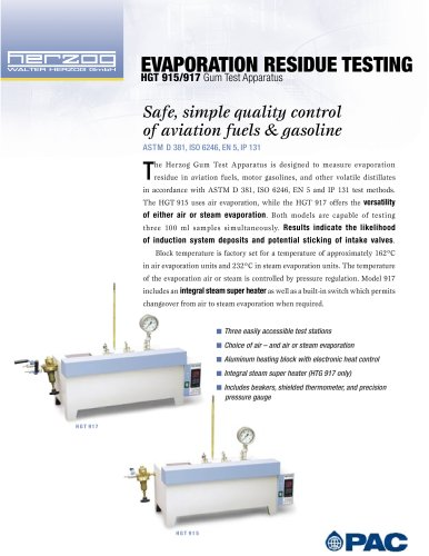 GUM TEST APPARATUS - EVAPORATION RESIDUE MEASUREMENTS
