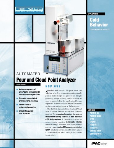 HCP 852 - AUTOMATIC CLOUD & POUR POINT TESTER