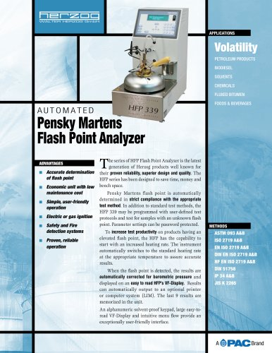 HFP 339 - AUTOMATIC CLOSED CUP PENSKY-MARTENS FLASH POINT ANALYZER
