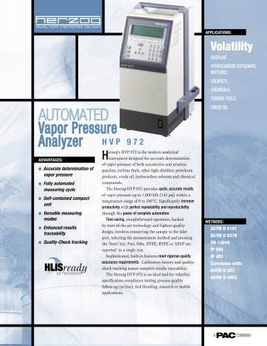 HVP 972 - AUTOMATIC VAPOR PRESSURE ANALYZER