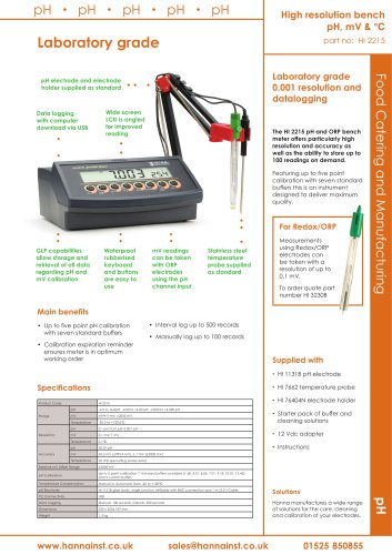Bench top pH & mV meter- high resolution, laboratory grade [HI-2215]
