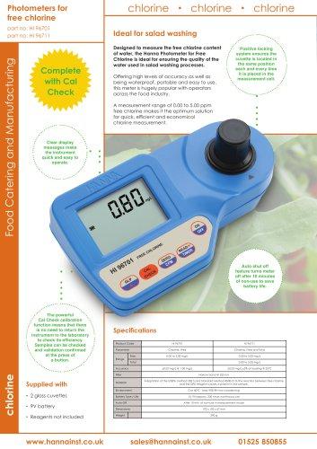 """Handheld Photometer for """"Free"""" Chlorine [HI-96701]"""
