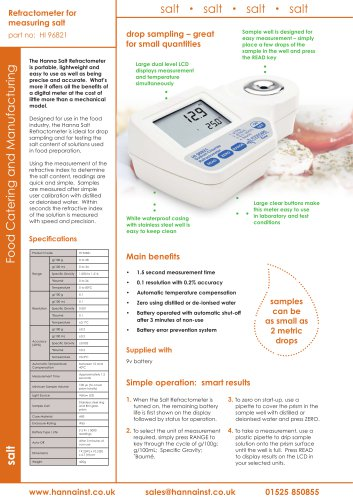 Refractometer for Food Industry Salt Measurements
