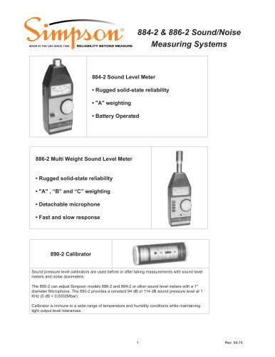 884-2 & 886-2 Sound Level Meters