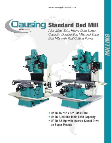 Clausing Standard Bed Mills - 600 Group - PDF Catalogs