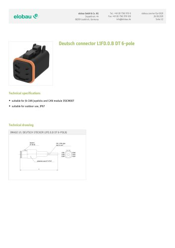 Deutsch connector L1FD.0.B DT 6-pole