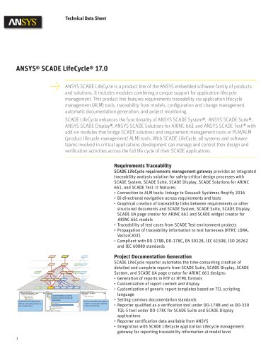 ANSYS® SCADE LifeCycle® 17.0