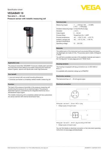 Specification sheet VEGABAR 19