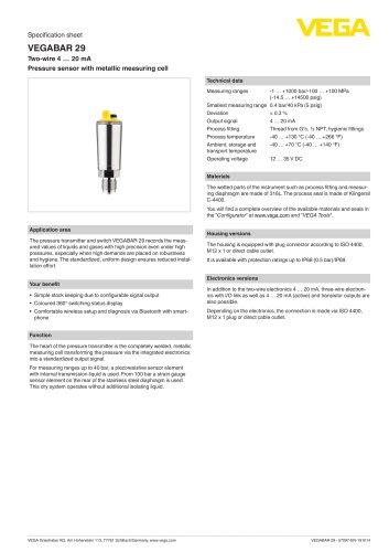 Specification sheet VEGABAR 29