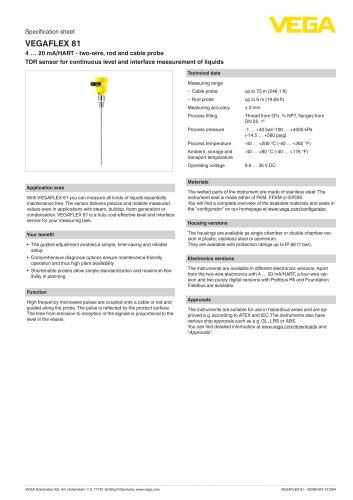 Specification sheet VEGAFLEX 81