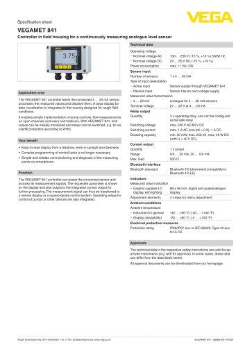 Specification sheet VEGAMET 841