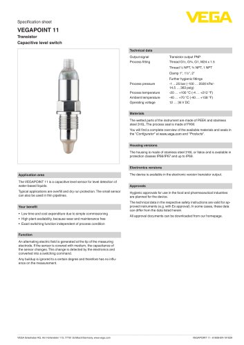 Specification sheet VEGAPOINT 11