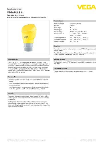 Specification sheet VEGAPULS 11