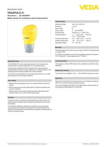 Specification sheet VEGAPULS 21