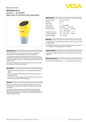 Specification sheet VEGAPULS 31