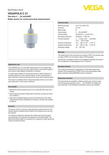 Specification sheet VEGAPULS C 21